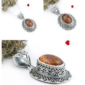 Amber Jewelry 925 Silver Necklace Designer Jewelry